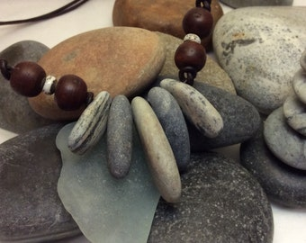 Beach Stone Collar Necklace with Bogi Seed Accents
