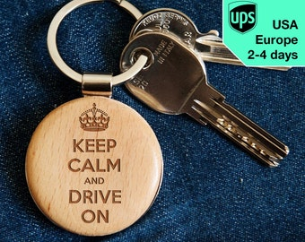 Drive On - key chain, laser engraved wooden key chain