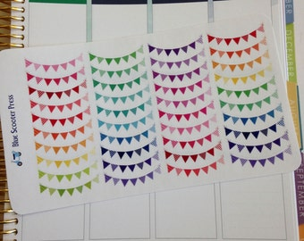 Rainbow Bunting Stickers! 40 MATTE Planner Stickers.