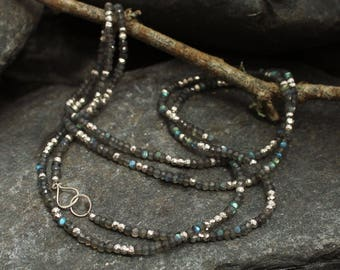 Labradorite Silver Wrap Necklace