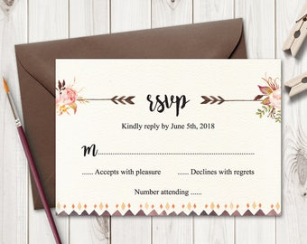 "Boho Wedding RSVP Card ""Bohemian Love"" with Watercolor Flowers. DIY Printable Response Card Template. Editable text, Word. Instant Download."