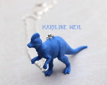 Silver Necklace blue dinosaur
