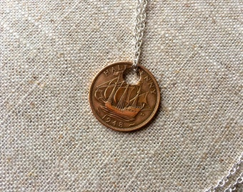 1948 Ha'penny Coin Pendant Necklace