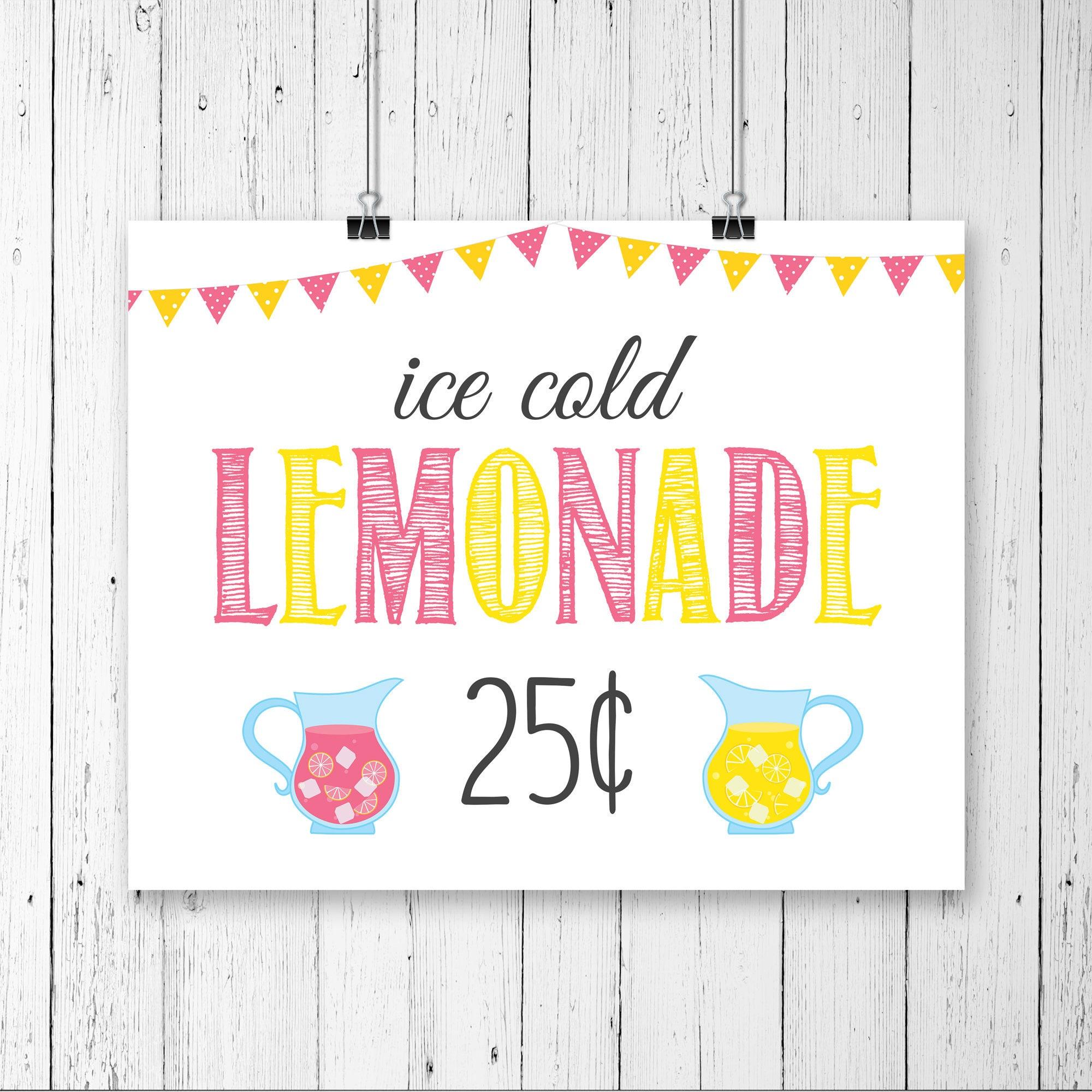 Printable Lemonade Stand Sign 25 cents Pink Lemonade IceLemonade Sign