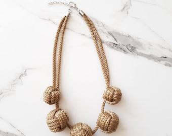 Straw necklace, Rope necklace, Statement necklace, Necklace with knots