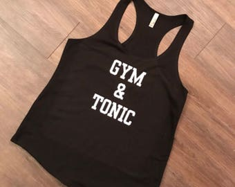 Gym and Tonic, Mom Life, Funny, Drinking Shirt, Friday, Friyay, Party, Beer, Baseball Raglan Shirt, Tank Top, Racerback, Tote Bag
