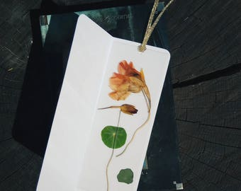 Nasturtium bookmark Pressed Flower Bookmark Botanical Bookmark Laminated Bookmarks Floral Art Book Accessory gift for readers Bookworm