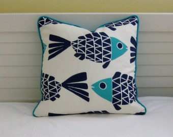 Go Fish Navy and Aqua Fish Design Indoor Outdoor Pillow Cover with Choice of Piping  - Square, lumbar and Euro Designer Pillow Cover