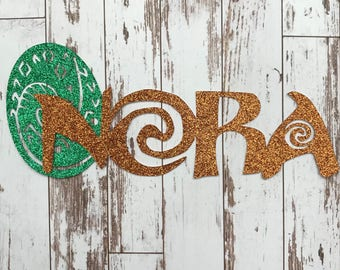 PERSONALIZED Moana inspired Name with Heart of Te Fiti  Glitter Die Cut/Party Decoration/ Embellishment/Cake Topper