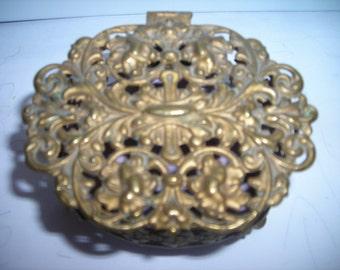 vintage trinket box ornate gold metal