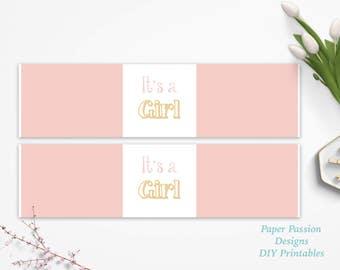 Pink Water Bottle Label ~ Baby Shower Decor ~Modern Baby Girl Shower ~ It's a Girl  ~ 0022PG