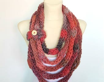 Knit Infinity Scarf Rainbow Knitted Shawl Knit Scarf Necklace Knit Cowl Scarf Knit Rope Scarf with Button Pink Scarf Women Gift Mom from Son