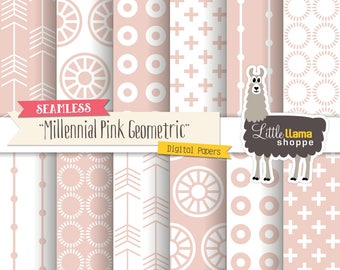 Millennial Pink Digital Paper, Seamless Geometric Patterns, Mid-century Modern, Instant Download, Commercial Use