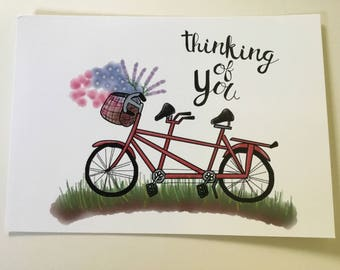 """Tandem Bycicle """"Thinking of you"""" Postcard"""