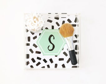 Monogram Acrylic Tray Personalized Lucite Tray Black White Acrylic Makeup Vanity Tray Bar Cart Tray Jewelry Tray Bridesmaid Gifts for Her