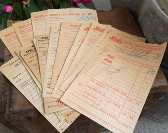 Vintage Receipts from the 1950's, Hostess and Nesbit,Whistle-Vess, Pepsi-Cola, Byrd Brothers Nehi Bottling Companies