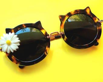 Cat Ear Sunglasses with Daisy Embellishment - Tortoise Shell/Gold Frames- UV400