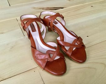 Vintage Beautifeel Camel Brown Leather Sandals Size 8.5 Euro 39 Isreal