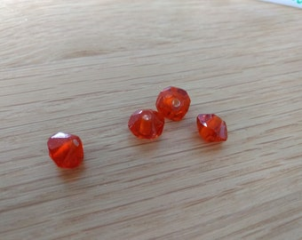 4 Orange faceted glass beads