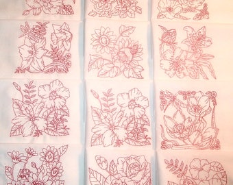 Set of 12 Machine Embroidered Quilt Blocks Florals Red Work 8 1/2 inches