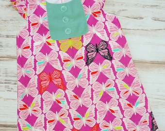 Girls pink butterfly dress - girls dress - girls size 5 dress - girls a-line - school dress  -  flutter sleeve dress - boutique girls dress