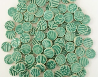100 Handmade HIGH FIRED AQUA Circle Tiles