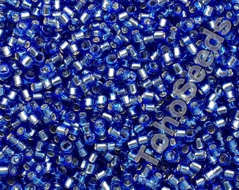 5g Toho 11/0 Treasure Cylinder Seeds Beads Sapphire Blue Silver Line TT-01-35 Cylinder Rocailles Blue Silver