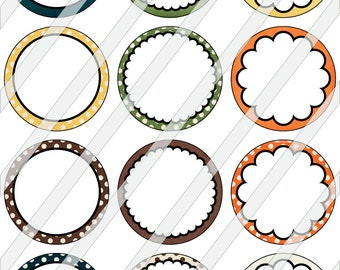 """2"""" Circles Digital Collage Sheet - Editable Fall Backgrounds For Tags Cupcake Toppers Cardmaking Magnets Stickers 0066"""