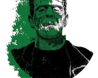 Frankenstein's Monster Print Hand Drawn Art