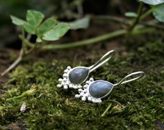 Sterling Silver Labradorite Drop Earrings With Bubble Detail