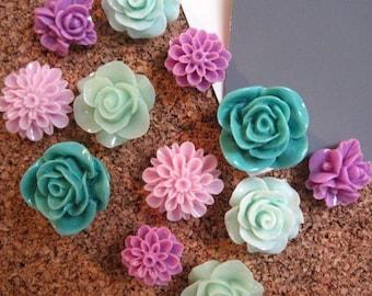 Thumbtacks, 12 pc Pushpin Set in Lilac, Teal and Mint Green, Bulletin Board Tack, Wedding Decor, Gifts, Wedding Decor