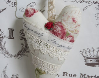 French Inspired Lace Covered Linen Floral Heart with I Love You Sentiment, Mothers Day, Customize, Lace, Mother's Day, FREE USA Shipping