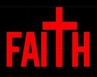 Faith vinyl decal, Christian decal, cross decal sticker, religious decal, car vinyl decal sticker, faith yeti decal, cross decal