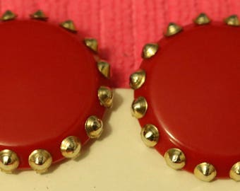 Lucite Button Earrings