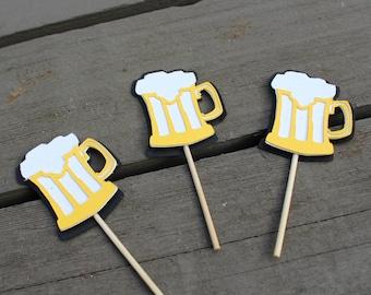 BEER CUPCAKE TOPPERS, happy beerday, beer topper, cupcake toppers, happy birthday, beer