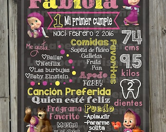 Chalkboard/Birthday Slate Masha and the bear-Masha and the bear birthday Chalkboard/Masha birthday sign/Masha Party/Masha Fiesta