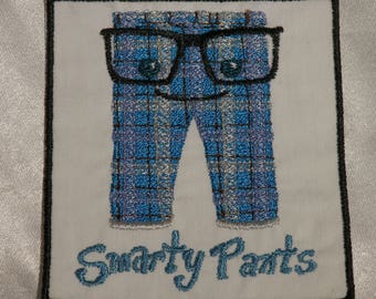 Embroidered Geeky Cute Smarty Pants Nerdy Plaid Glasses Motivational Message Patch Iron On Sew On USA