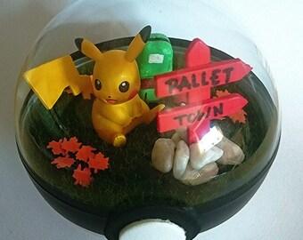 Pallet Town Pikachu Pokeball Terrarium / Custom Pokemon Gift / Pokeball Diorama / Fairy Garden / Pokemon Miniature