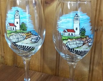 Set of 2 Hand Painted Lighthouse theme Wine Glasses