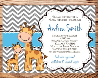 Baby shower invitation floral baby shower Invitation boy