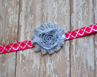 Sale-Hot Pink & Silver Headband or clip- pink and silver , newborn photo prop, baby headband