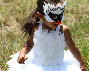 Swan costume, halloween tutu, white feather dress, halloween costume,  swan tutu dress, feather tutu costume, bird costume
