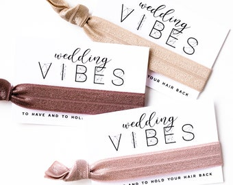 CHOOSE YOUR COLORS | Bridesmaid Proposal Hair Tie Card Gift, Wedding vibes Party Hair Tie Favor, Bridesmaid Gift, Modern Calligraphy Gift