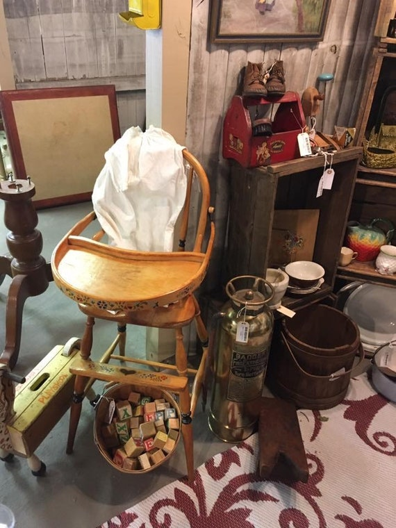 - Antique Wood Baby High Chair Hand Painted
