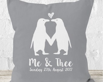Personalised Penguins In Love Throw cushion - grey penguin cushion - engagement - anniversary - love - gift - gift for couples