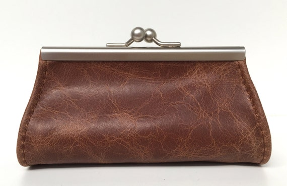 "Purse , wallet leather , "" CACAO "" , brown leather wallet"
