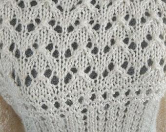 Women's Vintage Handmade Pullover Hand Knit Sweater Open weave