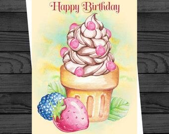 Fruit Cupcake, PRINTED GREETINGS CARD