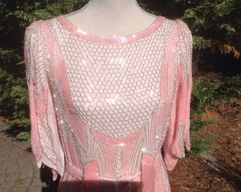 Pink Silk Beaded 1920's look Art Deco Jazz Age Flapper, Great Gatsby Dress, Formal Dress