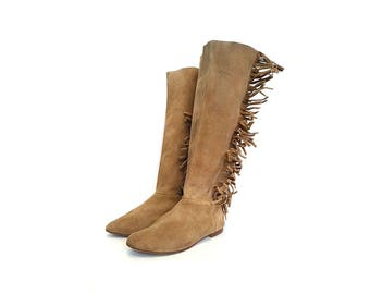 80s TALL boots SLOUCHY boots  fringe boots BOHO boots slouch boots suede boots pocahontas boots gypsy boots / Size 7.5 us / 5 uk / 38 eu